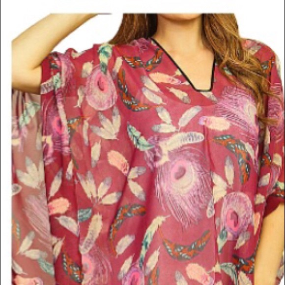 Sheer Floral Poncho